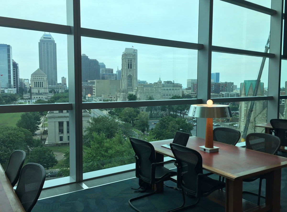 View from the top floor of the Indianapolis Public Library System's Central Library downtown